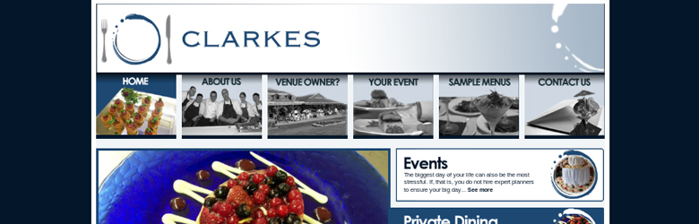 Screenshot of Clarkes Catering (2010)