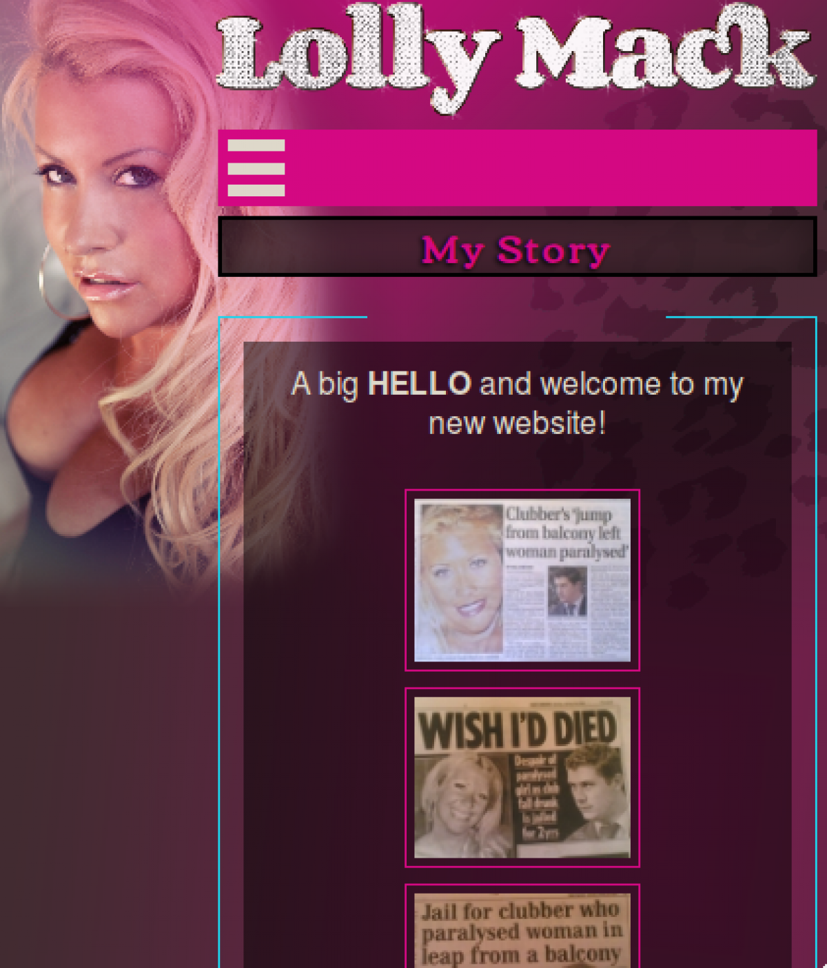 Lolly Mack home page on mobile